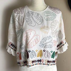 zara • leaf embroidered cotton crop top